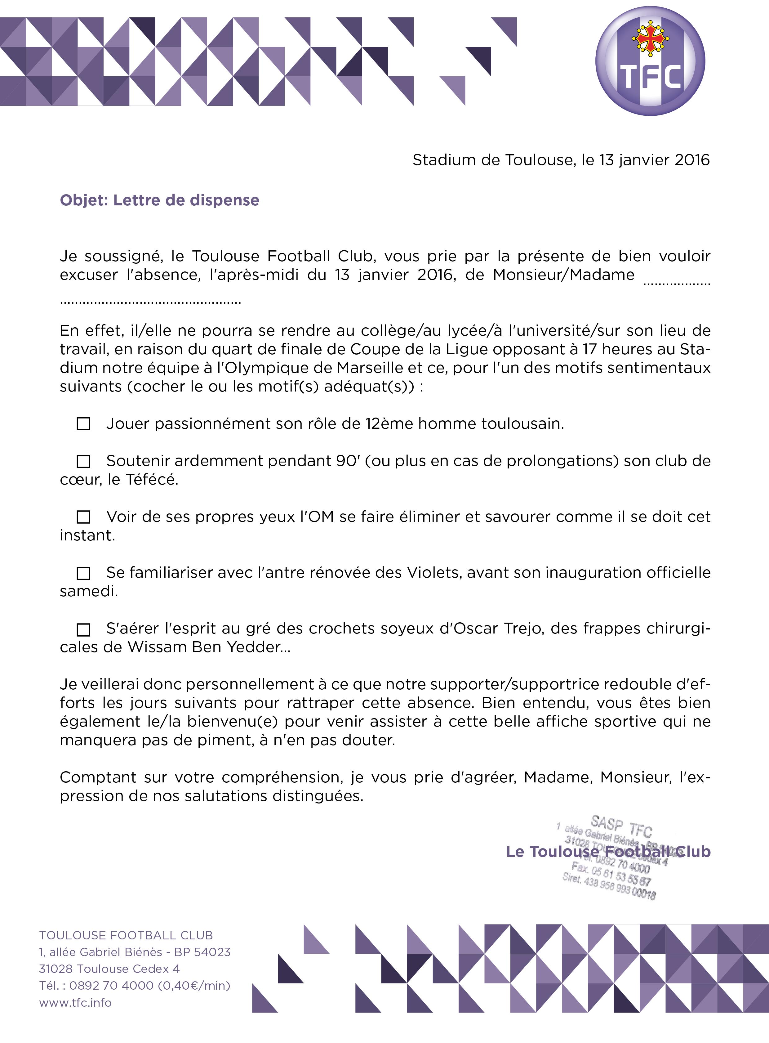 Lettre d'absence pour assister à TFC/Marseille | Le site officiel